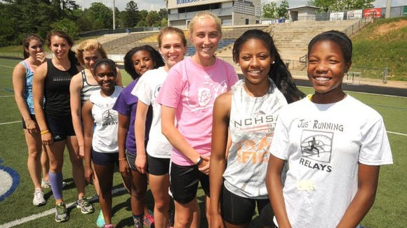 Members of the Roberson girls track team.