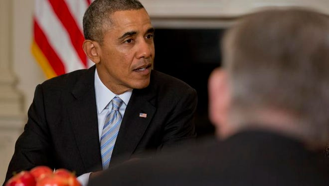 President Barack Obama meets with members of the Democratic Governors Association on Feb. 21 at the White House.