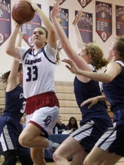 La Quinta High School's Emma Svoboda, tries to score