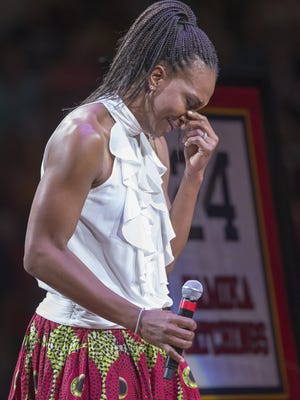 Retired Indiana Fever great Tamika Catchings is being honored with a jersey retirement ceremony during the evening's Indiana Fever game, Indianapolis, Saturday, June 24, 2017.
