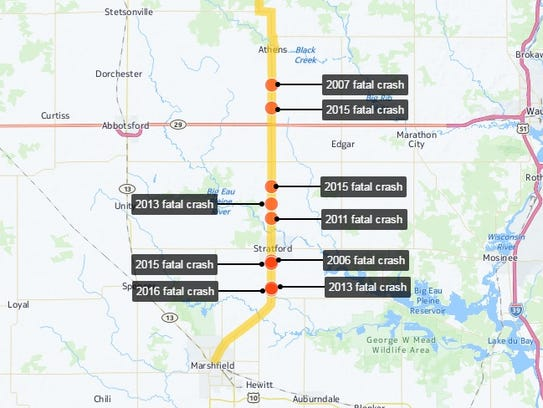 Interactive map of fatal crashes on State 97 between