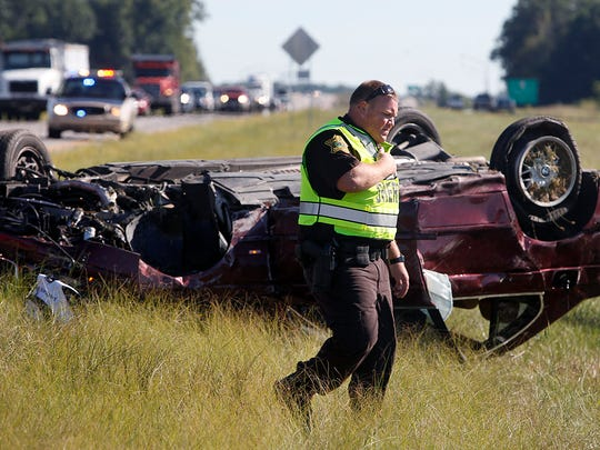 Two people were sent to the hospital Monday afternoon after the car they were in rolled following contact with another vehicle. Both vehicles were driving northbound on the Muncie Bypass when the accident occurred, according to Delaware County Deputy Dave Brown. None of the victims' injuries were believed to be life-threatening.