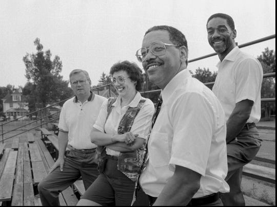 Looking back: 1964 Madison grads pictured on July 20, 1994 from left: Roger Sutphen, Linda Collings, George Fontenette and Horace Gibson.