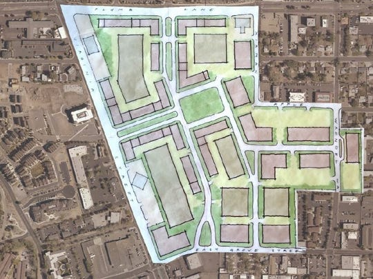 Urban Land Institute panelists drew this concept of Park Lane Mall land, which includes mixed use, central gathering green, buildings fronting street, interior parking and block pattern housing and retail development.