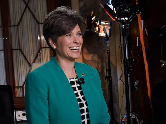 Sen. Joni Ernst, R-Iowa rehearses her remarks for the