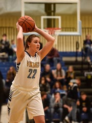 River Valley's Kamryn Caudill looks to pass the ball during a game last year.