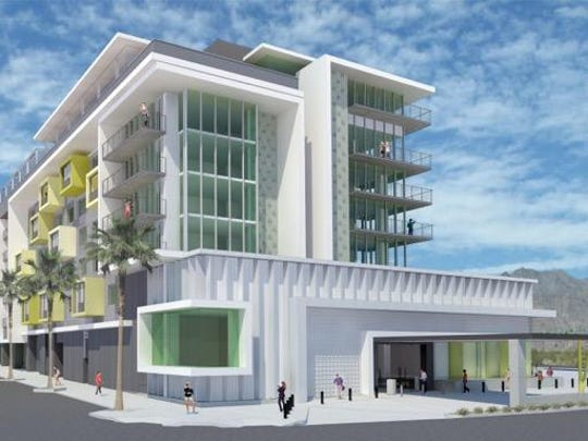 Wessman DevelopmentAn architect's rendering of the new 155-room Kimpton in downtown Palm Springs. The hotel is expected to open in the fall of 2016.