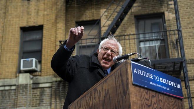Democratic presidential candidate Sen. Bernie Sanders, I-Vt. speaks April 8 in Brooklyn.