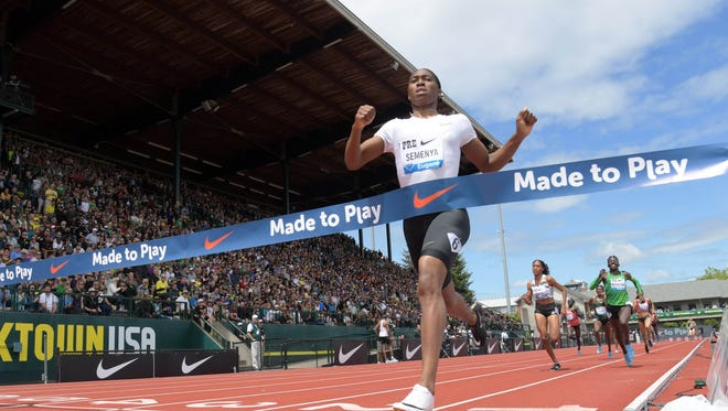 Caster Semenya easily wins the women's 800 during the 44th Prefontaine Classic.
