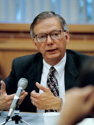 Oregon Attorney General Hardy Myers in a meeting discussing a national tobacco settlement in 1997.