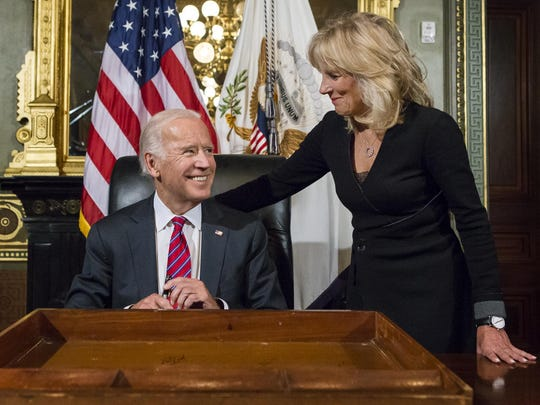 Former Vice President Joe Biden and his wife, Dr. Jill Biden, in the Eisenhower Executive Office Building in January. The Bidens have a multi-book deal.