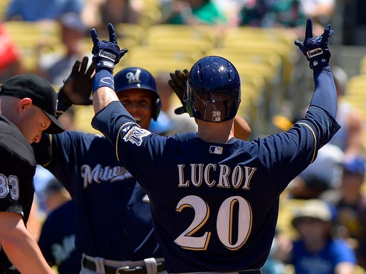 Milwaukee Brewers' Jonathan Lucroy, right, is congratulated by Carlos Gomez after hitting a two-run home run during the first inning of a baseball game against the Los Angeles Dodgers, Sunday, Aug. 17, 2014, in Los Angeles. (AP Photo/Mark J. Terrill)