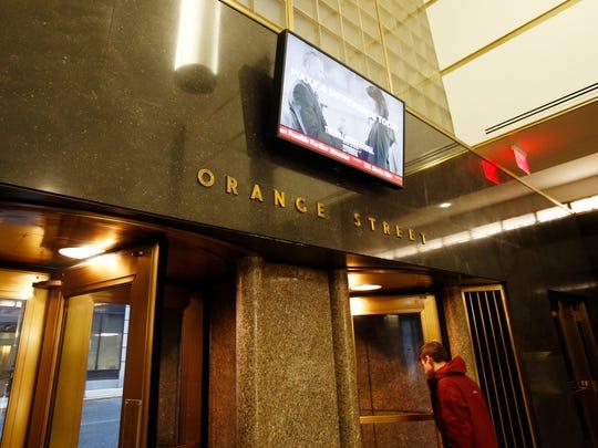 The Orange Street side of the lobby of the Nemours building in Wilmington, Thursday, Nov. 6, 2014.