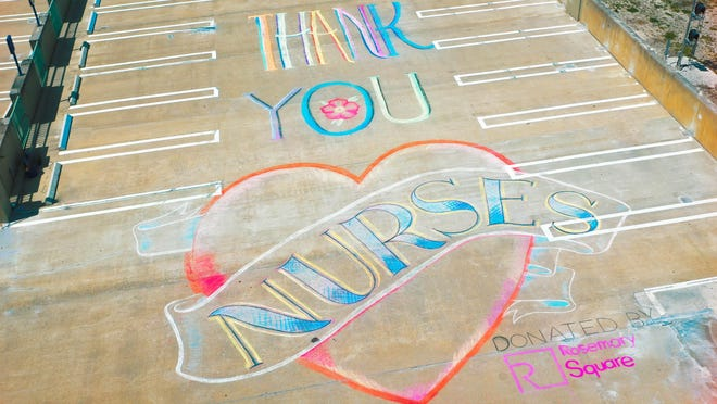 For National Nurse's Week, Rosemary Square partnered with Chalk & Brush to have seven  Miami street artists donate time to thank frontline heroes. This work appears on the roof deck of Rosemary Square's Hibiscus Garage and is viewable from the Cleveland Clinic offices.