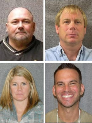 Clockwise from top left, Daniel Markofski, Nathan Cox, Ryan Zellner and Andrea Ebert. The former educators are on Wisconsin's sex offender registry after they were convicted of sexual offenses involving children.