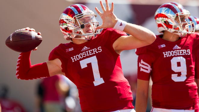 Indiana University quarterback junior Nate Sudfeld warms up for IU's game against Maryland.