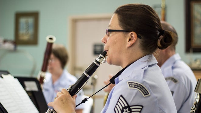 Kim Miller plays clarinet with the United States Air Force Band of Mid-America's Freedom Winds on Sunday at the Tennessee State Veterans Home in Humboldt.