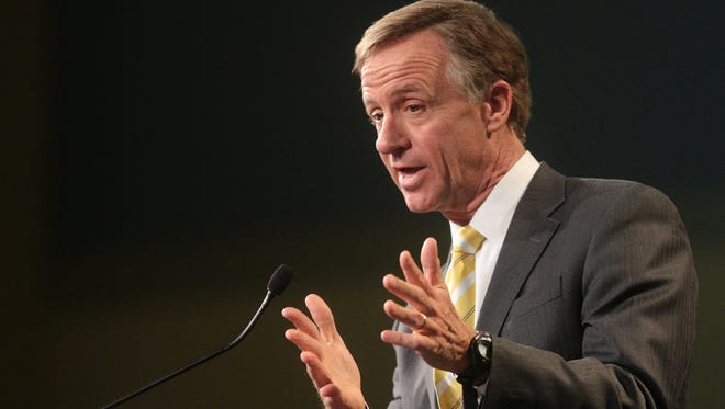 Tennessee Gov. Bill Haslam speaks at a Boy Scout fundraising lunch at World Outreach Church on Tuesday Feb.  18, 2014.