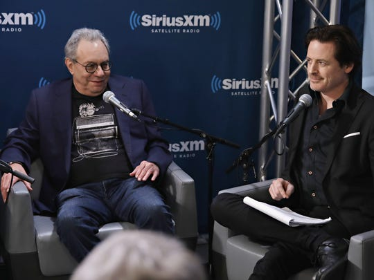 Lewis Black (left) appeared with John Fugelsang  to discuss Donald Trump's first 30 days at SiriusXM Studios on Feb. 21, 2017, in New York City.