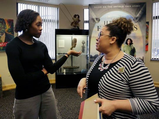 """Author Margot Lee Shetterly (left) signed copies of her book """"Hidden Figures"""" for Purdue University students and community members at the Black Cultural Center Wednesday, Jan. 25, 2017."""