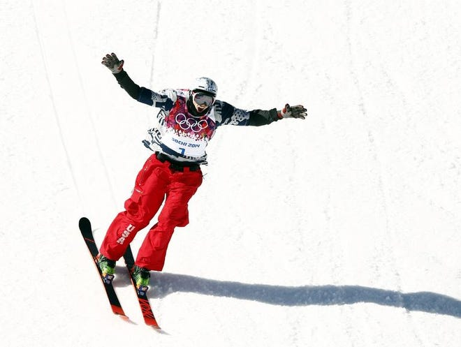 Nick Goepper celebrates his run in the men's ski slopestyle final. He won bronze medal with a score of 92.40. The gold medal score was 95.80.
