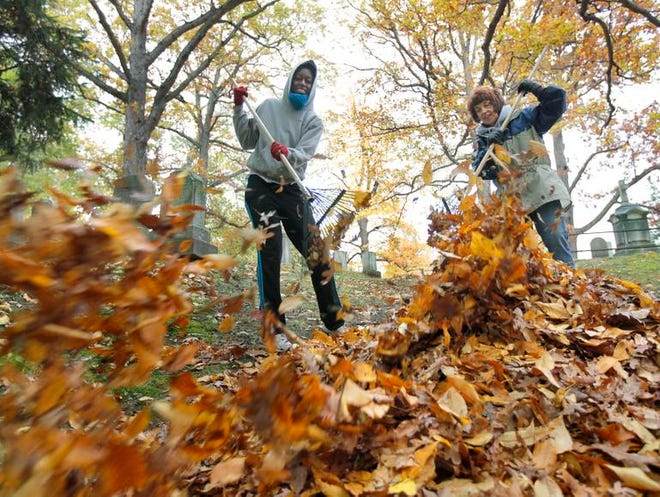 Irene Kannyo of Rochester, left, and Laura Robinson of Greece, both with AmeriCorps, rake leaves during Make a Difference Day at Mt. Hope Cemetery in Rochester.
