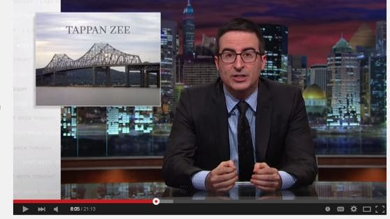 Comedian John Oliver referenced the aging Tappan Zee in a segment on Sunday about crumbling infrastructure in the United States. He revived the debunked myth that the current bridge is likely to collapse.