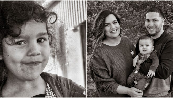 Sophia Salazar at 4 years old, right. Sophia, left, now 25, with husband Isaac and son Ian.