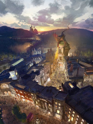 """The Wizarding World of Harry Potter - Diagon Alley and """"London"""" will be located within Universal Studios Florida, and feature an innovative, indoor roller coaster housed inside Gringotts bank."""