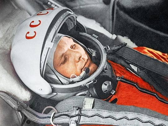 """Yuri Gagarin before a flight aboard the Vostok spacecraft. April 12, 1961. From the exhibit """"Cosmonauts: Birth of the Space Age."""""""