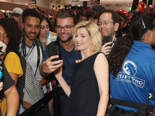 "New ""Doctor Who"" star Jodie Whittaker with fans at"