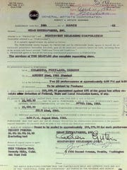 A copy of the contract that shows the Beatles were paid $50,000 for two shows on Aug. 22, 1965, at Memorial Coliseum in Portland.