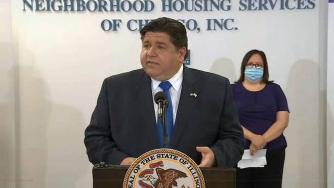Gov. JB Pritzker speaks in Chicago Monday to announce the launching of two housing assistance programs to help people who have had trouble making rent or mortgage payments during the COVID-19 pandemic.