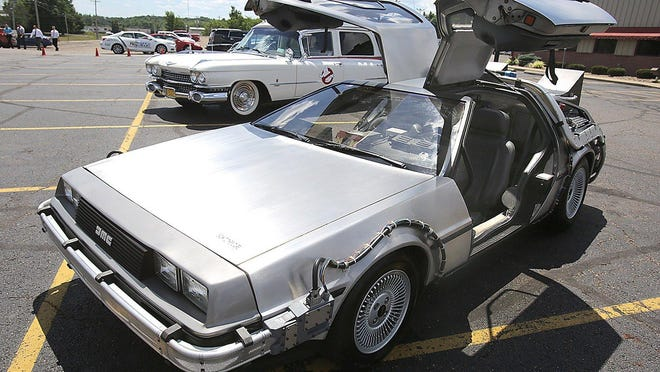 "A replica of the DeLorean featured in the movie ""Back to the Future"" will be sold at Skipco Auto Auction in Canal Fulton on Saturday. The vehicle is among three replica movie cars being auctioned as part of a forfeiture sale for the U.S. Marshals Service."