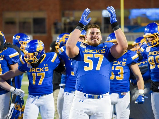 South Dakota State Jackrabbits lineman Caleb Lang (57)