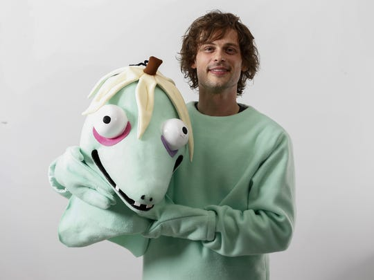 "Actor and author Matthew Gray Gubler poses for a portrait in New York wearing a costume of his title character in his children's book ""Rumple Buttercup: A Story of Bananas, Belonging and Being Yourself."""