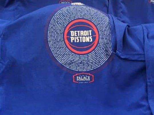 Shirts are seen on seats before the final Pistons game at the Palace on April 10, 2017.