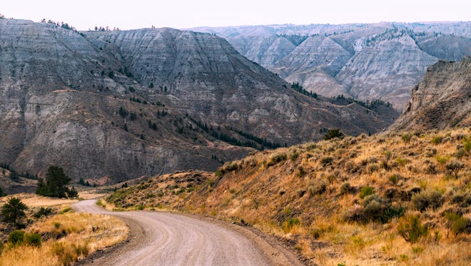 The road to the Stafford-McClelland ferry traverses the Upper Missouri River Breaks National Monument north of Winifred.