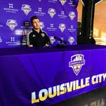Louisville City FC coach James O'Connor chats with reporters Tuesday.