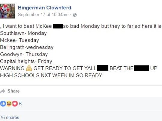 The list of schools a newly created clown account claims to be threatening.