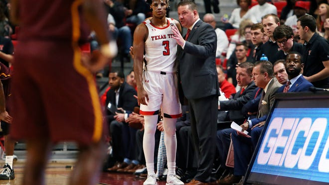 Texas Tech coach Chris Beard gives instructions to Jahmi'us Ramsey (3) during the first half of a nonconference game Nov. 9, 2019 against Bethune-Cookman at United Supermarkets Arena. On Wednesday, Ramsey was selected by the Sacramento Kings in the second round of the NBA Draft.
