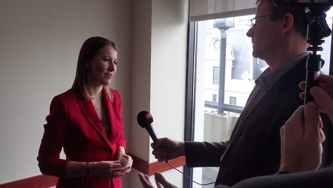 Russian presidential candidate Ksenia Sobchak speaks to reporters Feb. 6, 2018, at the National Press Club in Washington DC. Russian President Vladimir Putin is sure to win, but voters need to see that there are other options, Sobchak said.