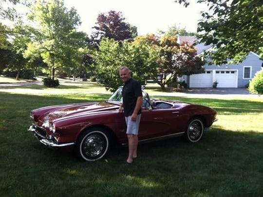 Joe Welsh, of the Long Valley section of Washington Township, shows off 1962 Corvette he spent three years restoring for his brother.