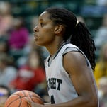 Wright State University's Kim Demmings moves the ball against Cincinnati Christian during a womens basketball game Tuesday, Dec. 8, 2015, in the Nutter Center.