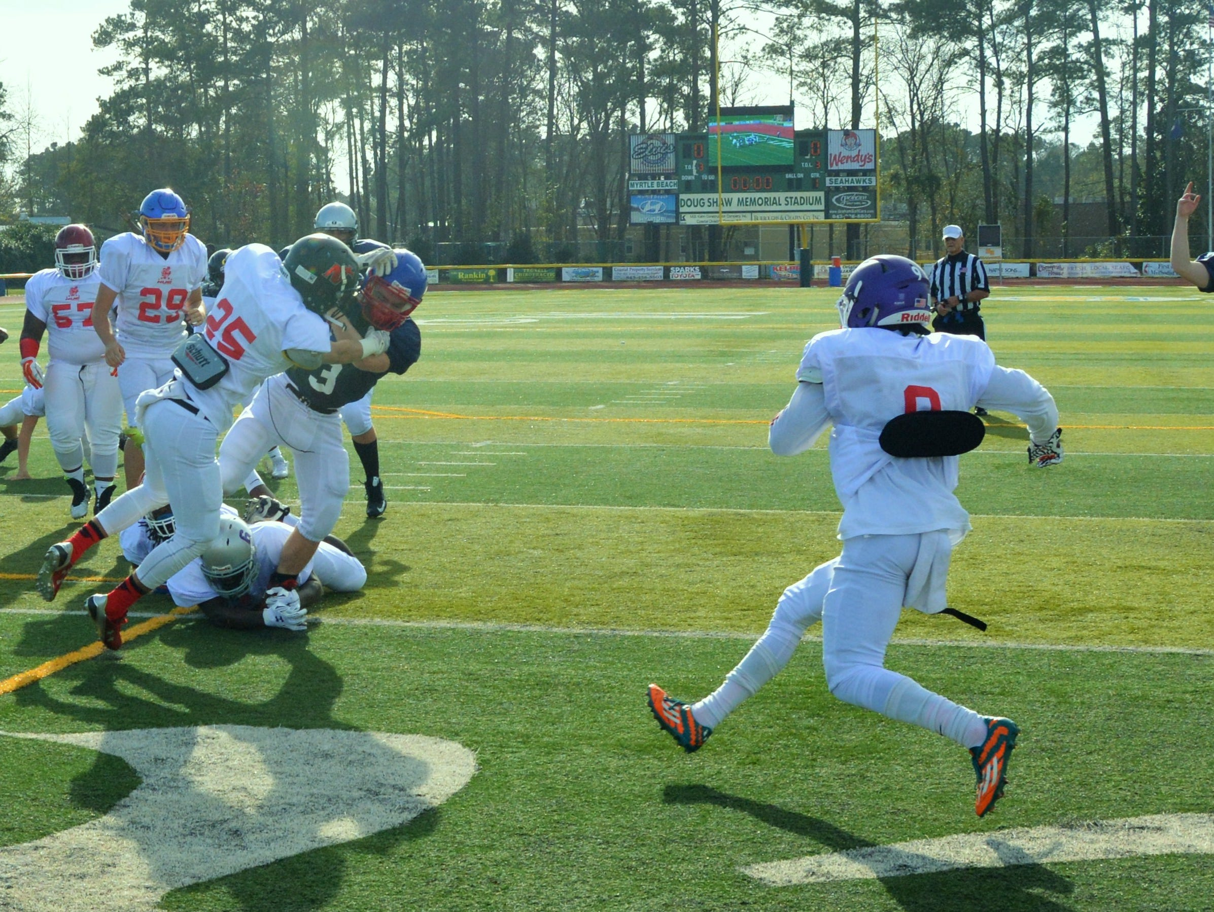 Madison junior Junior Denton rushed for 163 yards and his team's only touchdown in Wednesday's National Underclassmen Combine all-star football game in Myrtle Beach, S.C.