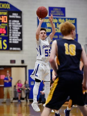 Kennard-Dale's Carter Day shoots against Littlestown in the second half of a PIAA District 3 4A boys' basketball quarterfinal Thursday, Feb. 22, 2018, at Kennard-Dale. Kennard-Dale defeated Littlestown 72-59 to advance in the tournament.