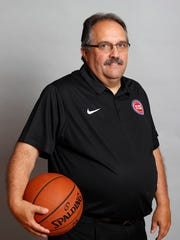 Detroit Pistons head coach Stan Van Gundy poses for a photo during media day at the Palace on Sept. 25, 2017.