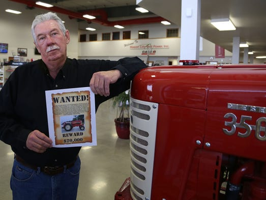 Randy Hinton says he will not press charges if the thief who stole his 1965, 1206 International Harvester Farmall tractor will just bring it back. The owner of the Mason City Red Power Case IH dealership in Mason City is offering a $20,000 reward for return of his refurbished tractor, shown in the Wanted poster, which he describes as his pride and joy. The implement dealer showroom currently has another vintage 350 Farmall on display, which is not as rare as the 1206  Wednesday, March 26, 2014.
