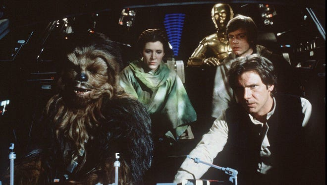 Chewbacca (Peter Mayhew, left), Princess Leia (Carrie Fisher), C-3PO (Anthony Daniels), Luke Skywalker (Mark Hamill) and Han Solo (Harrison Ford) are off to take down a second Death Star in 'Return of the Jedi.'