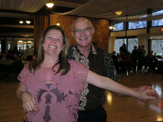 Suzanne Wall of Burney and Greg Smith of Redding  attend the Rivercity Jazz Society dance with Sister Swing on Feb. 19, 2017, at the Redding Elks Lodge.